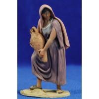 Pastora con jarra 10 cm barro pintado De Francesco