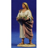 Pastora con bandeja 10 cm barro pintado De Francesco