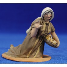 Pastora adorando con cesto huevos 10 cm barro pintado De Francesco
