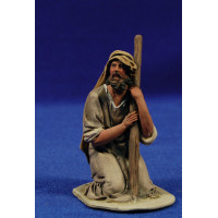 Pastor adorando con cordero 10 cm barro pintado De Francesco
