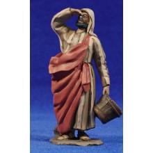 Pastor con cubo 10 cm barro pintado De Francesco