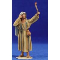 Pastor con antorcha 10 cm barro pintado De Francesco
