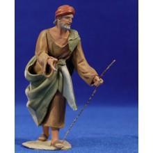 Pastor semi adorando 10 cm barro pintado De Francesco