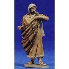 Pastor apoyado en bastón 10 cm barro pintado De Francesco