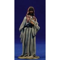 Pastora mirando con bastón 10 cm barro pintado De Francesco