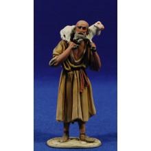 Pastor con cordero hombros 10 cm barro pintado De Francesco