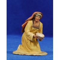 Pastora adorando con bol 10 cm barro pintado De Francesco