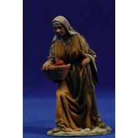 Pastora adorando con cesta  de frutas 10 cm barro pintado De Francesco