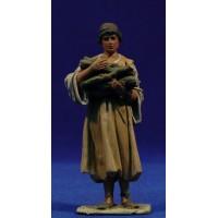 Pastor fajo leña M2 10 cm barro pintado De Francesco