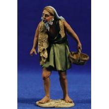 Pastor con cesto 10 cm barro pintado De Francesco