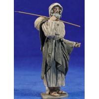 Pastor baston y saco 14 cm barro pintado De Francesco