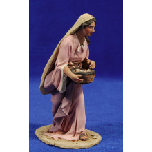 Pastora con cesto huevos 15 cm barro pintado De Francesco