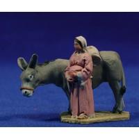 Pastora encima asno 4 cm barro pintado De Francesco