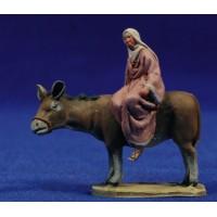 Pastora encima asno con jarra 4 cm barro pintado De Francesco
