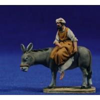 Pastor encima asno 4 cm barro pintado De Francesco