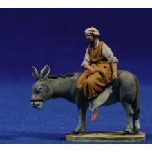 Pastor encima asno M3 4 cm barro pintado De Francesco