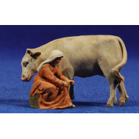 Pastora ordeñando una vaca 4 cm barro pintado De Francesco