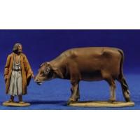 Pastor con vaca 5 cm barro pintado De Francesco