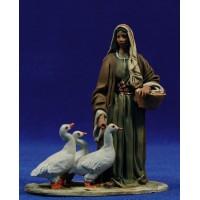 Pastora con ocas 10 cm barro pintado De Francesco