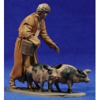 Pastor con cerdos 10 cm barro pintado De Francesco