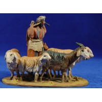 Shepherd with lambs 10 cm clay painted De Francesco