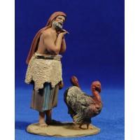 Pastor con pavos 10 cm barro pintado De Francesco