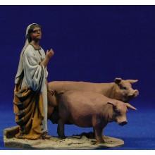 Pastora con cerdos 10 cm barro pintado De Francesco