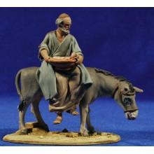 Pastor encima asno 10 cm barro pintado De Francesco