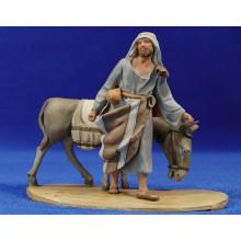 Pastor con asno 10 cm barro pintado De Francesco