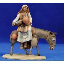 Pastora encima asno 10 cm barro pintado De Francesco