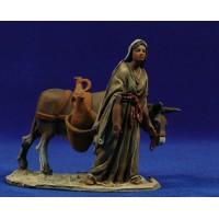 Pastora con asno 10 cm barro pintado De Francesco