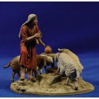 Pastor con corderos y cabras 10 cm barro pintado De Francesco