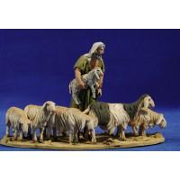 Pastor con 7 corderos 10 cm barro pintado De Francesco