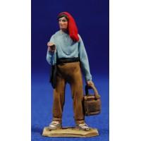 Pastor catalan con cubo 5,5 cm barro pintado De Francesco