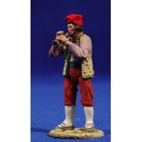 Pastor catalán músico tocando flauta 5,5 cm barro pintado De Francesco