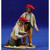 Pastores catalanes adorando con cesta 5,5 cm barro pintado De Francesco