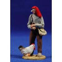 Pastor catalán con gallina 5,5 cm barro pintado De Francesco