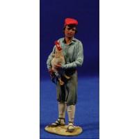 Pastor catalan con gallina 10 cm barro pintado De Francesco