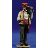 Pastor catalan con saco en espalda 10 cm barro pintado De Francesco