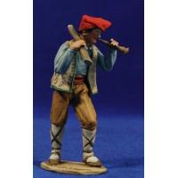 Pastor catalán músico con tronco y flauta 10 cm barro pintado De Francesco