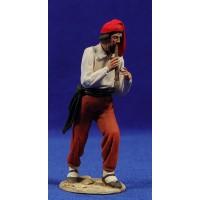 Pastor catalán músico con flauta 10 cm barro pintado De Francesco