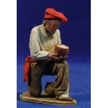 Pastor catalán adorando con bol 10 cm barro pintado De Francesco