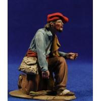 Pastor catalán adorando bon bolsa  10 cm barro pintado De Francesco