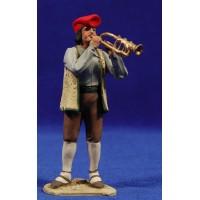Pastor catalán músico tocando trompeta 10 cm barro pintado De Francesco