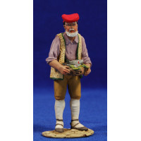 Pastor catalán pescatero 10 cm barro pintado De Francesco