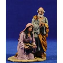 Pareja pastores adorando anciano y joven 10 cm barro pintado De Francesco