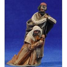 Pareja pastores adorando 10 cm barro pintado De Francesco