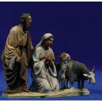 Pareja pastores adorando con cabra 10 cm barro pintado De Francesco