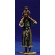 Pastor con niño en hombros 10 cm barro pintado De Francesco