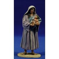 Pastora con niño en brazos 10 cm barro pintado De Francesco